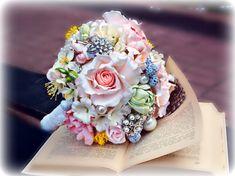 Ramo de novia Boho, porcelana fría, ramo de peonías, ramo de freesia, arcilla de bouquet, flores boda, arcilla polimérica, ramo
