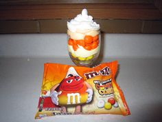 M&M's White Chocolate Candy Corn parfait