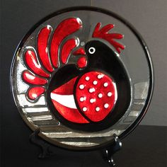 Rooster Red and Black Fused Glass Plate Lori by LoriSiebertStudio