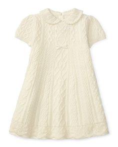 Z1SMC Ralph Lauren Cable-Knit Swing Dress, Cream, Size 3-24 Months