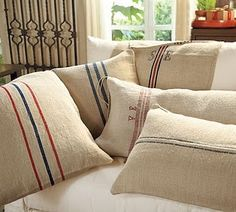 DIY removable grain sack pillow covers
