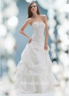 $252.99 Strapless Sexy White Floor-length Sleeveless Taffeta Lace-up Wedding Dress With Beading – Dressdo.com Comes in other colors-Ivory too.