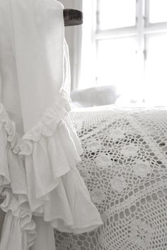 White cotton crochet and ruffles <3 Vintage Interior