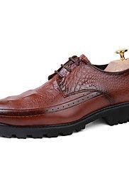 Masculino-Oxfords-Conforto Sapatos formais-Salto Baixo-Preto Marrom Vinho-Couro-Escritório & Trabalho Festas & Noite Casual