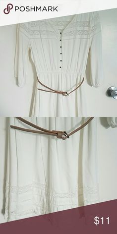 Juniors dress Soft off white dress with lace design   With brass buttons and tan belt Forever 21 Dresses Mini