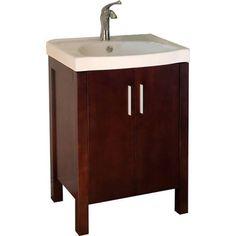 "Bellaterra 804381 24"" Single Sink Bathroom Vanity - Walnut/White Top $305 Austins bth"