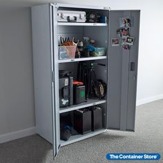 Built for the harsh garage environment, Gladiator products are tough, versatile and work well in other areas of the home, including mud rooms, laundry rooms and basements. The Large GearBox Cabinet is perfect for gardening tools, paint supplies or automotive gear. It includes leveler feet adjust to uneven floors, and nylon pads prevent floor stains and corrosion. One fixed shelf and two adjustable shelves provide four levels of storage. Garage Shelving, Cabinet, Shallow Pantry, Locker Storage, Paint Supplies, Uneven Floor, Adjustable Shelving, Shelving Solutions, Floor Stain