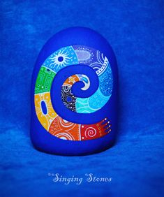 Hand painted stone -Rainbow spiral