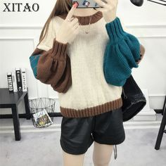 [XITAO] Autumn Winter Korea Women Casual Sweaters Female O-Neck Pullovers Patchwork Full Lantern Sleeve Sweaters KY265 #XITAO #sweaters #women_clothing #stylish_sweater #style #fashion