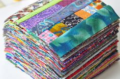 """TheLittleRedHen says: That row of tiny scraps gets me. I don't remember who gave me that skeleton fabric scrap but that is the last bit I have. It slays me. I know that if I had started with yardage of it I wouldn't feel the same. It was precious and I had to include it. Are you like that? Do some fabrics make you emotional?"""""""
