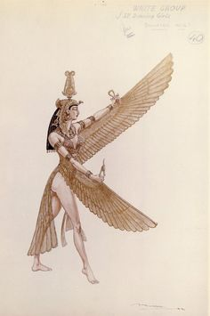 Irene Sharaff - Costumes de Films - Esquisses et Croquis - Cléopâtre - 1963 - Danseuse