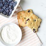 Chobani Greek Yogurt is loaded with protein & makes for a delicious replacement in these tasty Blueberry Sconies! They are a hybrid of a scone with a brownie but without the chocolate.