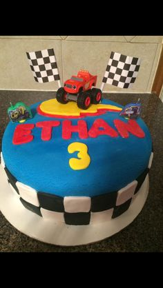 Ethan's Blaze and the Monster Machine Cake