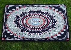 """""""Black Bear"""" is a classic GD bear design for the jam band fan in you.  Great to take to festivals to sit on at the show or hang up at your campsite  http://thetarpestry.com/shop/black-bear/"""