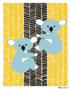 Koala Bears nursery original art print perfect for a little boy or a little girls room. Makes a great gift for baby showers, birthdays and favors.