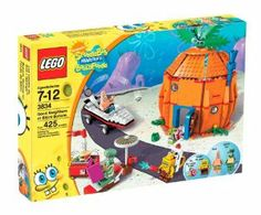 "LEGO Good Neighbors at Bikini Bottom 3834 by LEGO. $49.99. Measures 8"" long and 5"" tall. Includes Patrick?s boat with marshmallow launcher. SpongeBob?s pineapple home packed with details such as bed, TV, sofa and a grill with burger launcher. 425 pieces. SpongeBob, Patrick, Squidward and Gary the Snail minifigures included. From the Manufacturer                How's Squidward supposed to relax when SpongeBob's got a brand new toy - a bee-yoo-tiful cold shower? I..."