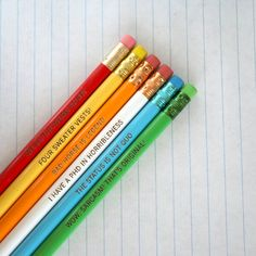 a horrible pencil set of 6 pencils with quotes from Dr. Horrible's Sing-Along-Blog by thecarboncrusader