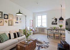 déco salon scandinave vintage- éclairage industriel, table coffre et peau de bête