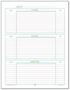 Weekly student planner printable - Page 1 Blue, Green and Pink colour scheme