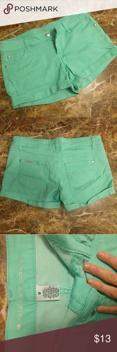 Mint green shorts Cute mint green shorts! Brand celebrity pink, juniors size 9. Stretchy fit! Very comfty material. In pre-loved condition, but like new. Barely any signs of use. Summer is here!!!! :) Celebrity Pink Shorts
