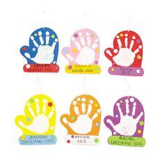 Mitten Handprint Ornament Craft Kit - OrientalTrading.com
