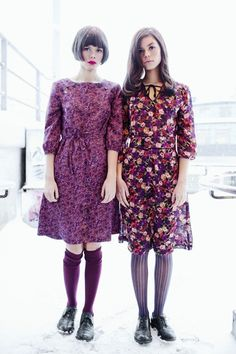 floral dresses with knee socks and oxfords.
