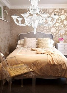 Inspiration: Murano Glass Chandeliers in the Bedroom | Apartment Therapy - like the bed