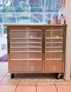 stainless tool box with butcher block top,whalen, $500 at