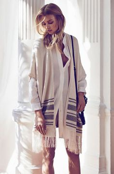 Throw. Massimo Dutti Women March 2015 Lookbook: boho chic allure cape & blouse