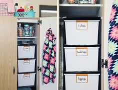 Hang the Ikea SKUBB Hanging Organizer from your closet rod. Use Sterlite ID 25 qt. storage boxes in it to make the organizer more sturdy.  Bins can easily be pulled in and out.
