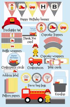 All you need to have a wonderful birthday party. Fireman Party, Firefighter Birthday, Fireman Sam, 3rd Birthday Parties, Happy Birthday Banners, Birthday Fun, Party Themes, Party Ideas, Party Kit
