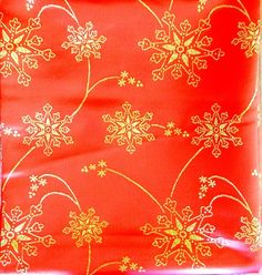 """Red Christmas Holiday Fabric Gold Snowflakes Quilting Crafting Sewing 46"""" x 50"""""""