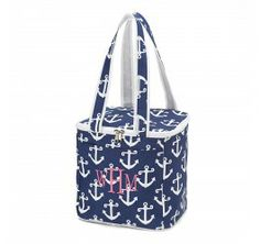 Navy Anchor Cooler Tote