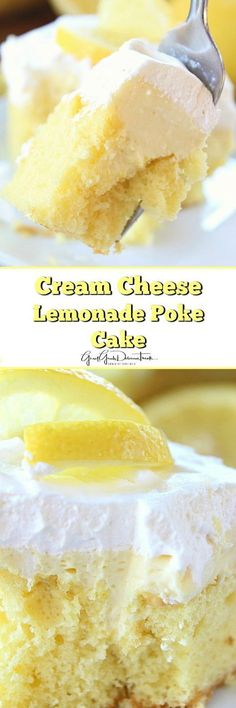 This poke cake melts in your mouth! A Cream Cheese Lemonade Poke Cake 13 Desserts, Lemon Desserts, Lemon Recipes, Sweet Recipes, Delicious Desserts, Lemon Cakes, Weight Watcher Desserts, Poke Cake Recipes, Dessert Recipes