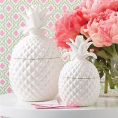 Ceramic Pineapple Hospitality Jars with Lid Includes Small and Large (food safe)