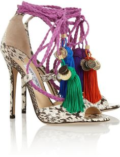 Jimmy Choo Dream rope-tie elaphe sandals $747.50 What do you think of this shoe?
