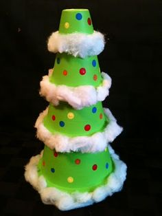 Terra Cotta pot Christmas tree...I think I would use a feather boa instead of the cotton though