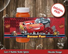 Cars 3 Bubbles Bottle Labels