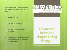 4 Cardinal Rules for Simple Living