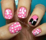 45 Gorgeous Nail Art For Fall - Disneyland Nails - Minnie Mouse with pink Mickey Nails, Minnie Mouse Nails, Pink Minnie, Mickey Mouse, Fancy Nails, Love Nails, How To Do Nails, Disneyland Nails, Disneyland Trip