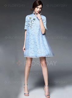 Dresses - $94.69 - Polyester Floral Short Sleeve Mini Vintage Dresses (1955097168)