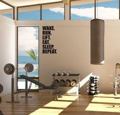 wake. run. lift. eat. sleep. repeat Sports & Outdoors - Sports & Fitness - home gym - http://amzn.to/2jsMKm8
