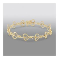 Knots of Love 1/10 cttw Diamond 14K Gold Over Sterling Silver Iconic Heart Bracelet