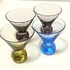 Set 4 Dizzy Cocktail Crate and Barrel Multi Color Bottom Glasses Tumblers #CrateBarrel