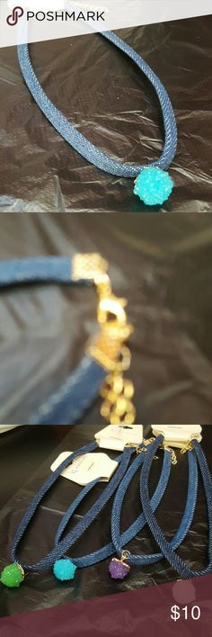 Choker Necklace denim with turquoise charm Beautiful Choker Necklace in Denim.New! Please specify de color  at checkout! Green White Purple Turquoise Jewelry Necklaces