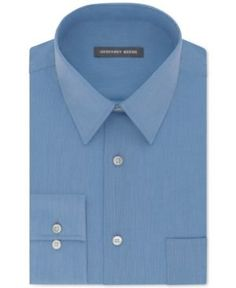 Geoffrey Beene Men's Big and Tall Classic-Fit Wrinkle Free Bedford Cord Solid Dress Shirt - Blue 17.5 34/35
