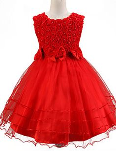NEW RED SEQUINS A-LINE SCARF SHAWL WEDDING FLOWER GIRL DRESS 2 4 6 8 10 12 14 16
