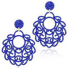 Brinco de festa no formato redondo com strass na cor azul