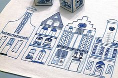 Dutch Canal Houses to embroider in Delft blues!  c pdf in Embroidery file