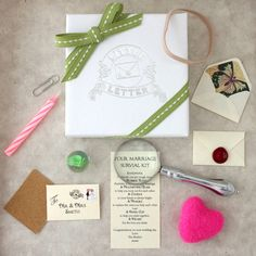 Our personalised mini marriage survival kit is a quirky, unique gift to offer your congratulations to a special couple.Your marriage survival kit: A mini personalised envelope and letter with a horse shoe wax seal for luck. Sandpaper - to smooth out any rough times. A rubber band - flexibility is key to a happy marriage. A magnifying glass - to help you look out for each other. A marble - to replace the ones you help each other lose! A candle - so your future is always bright. A heart - for the love you share. A paperclip - to help you stick together. Please enter your own personal sign off for the letter, eg Love The Busbys xxxxYour gift includes a collection of tiny items, all of which have a special sentiment attached to them, details of which can be seen in the images and the description below. All items in your kit are beautifully wrapped with tissue paper and presented in a Little Letter gift box, tied with ribbon. Your wedding gift is delivered in a silver bubble envelope to arouse excitement and intrigue for the surprise within (gift will fit through post box).Paper, sandpaper, rubber band, magnifying glass, a marble, a wax candle, paperclip, wool felt heart. Magnifying glass, metal chrome plated with glass.Contents include: Mini letter: W3.8 x H2.5cm Gift box: W8.5 x H8.5cm Magnifying glass: W3.5 x 9.5cm